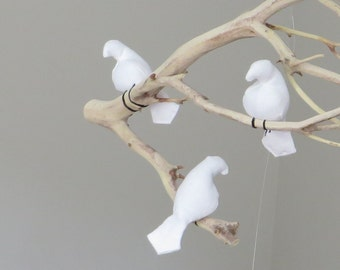 Natural or White Linen Fabric Birds - Made to order