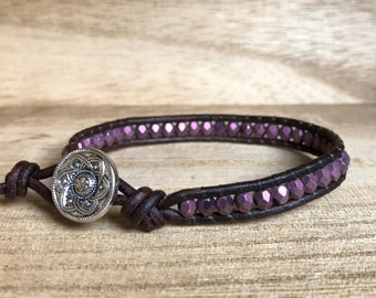 Purple Suede Single Wrap Bracelet