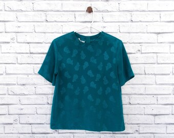 EMERALD SHINE - Teal Paisley Blouse | Short Sleeve Blouse | Vintage Emerald Blouse | Size Medium | Shiny Blouse | Paisley Blouse | Blue