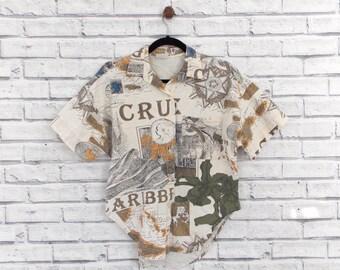 CARIBBEAN CRUISE - Caribbean Cruise Shirt | Vintage Hawaiian Shirt | Aloha Shirt | Vacation Shirt | Summer Shirt | Tropical Shirt