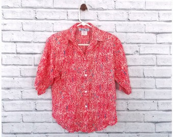CORAL VIBES - Red and Pink Tribal Print Button Up Shirt | Vintage Patterned Blouse | Size Small | Vintage Floral Blouse | Hawaiian Shirt