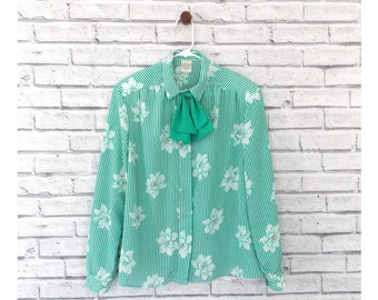 SPRING DREAM - Floral Green Long Sleeve Shirt With Bowtie Collar | Pykettes | Size 14 | Floral Blouse | Long Sleeve Blouse | Green Blouse