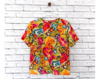 ABSTRACT FLORAL - Colorful Silk Floral Shirt | Tess Brand | Vintage Floral Blouse | Short Sleeve Blouse | Size Small | Hawaiian Shirt |