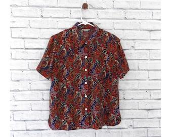 PAISLEY DREAM - Short Sleeve Paisley Blouse | Red Paisley Blouse | Notations | Size Medium | Red Blouse | Pattern Blouse | Vintage Paisley