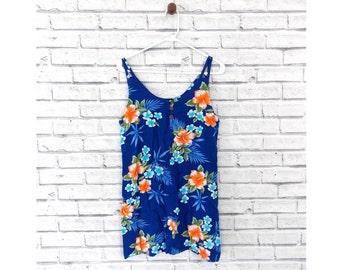 BLUE HAWAII - Blue Hawaiian Swimsuit Cover | Hawaiian Sun Dress | Tiki Palm Brand | Size Large | Vacation Sundress | Hawaiian Sundress