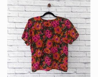 BOLD FLORAL - Orange and Pink Hawaiian Blouse | Floral Blouse | Size 6 | Vintage Hawaiian Shirt | Summer Shirt | Vacation Shirt