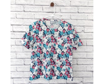 FROZEN SUMMER - Pink and Blue Floral Blouse | Blair Floral Shirt | Short sleeve Blouse | Frozen Shirt | Summer shirt | Size Small