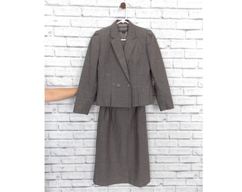 MRS SHERLOCK - Vintage Gray Blazer and Skirt Combo | Stirling Cooper Two-Piece Suit | Vintage Women's Suit | Gray Women's Suit | Size 2