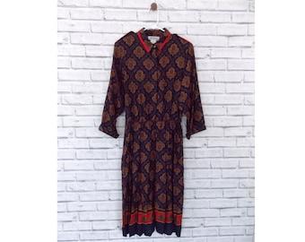 DUBAI CHIC - Toni Petit Patterned Midi Dress | Paisley 80s Dress | Paisley 90s Dress | Paisley Midi dress | Size 14 | Vintage 90s Dress