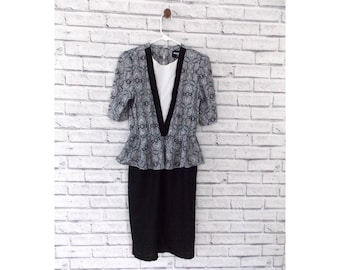 PREPPY PAISLEY - Paisley Peplum Dress with Black Pencil Skirt Bottom by Whirlaway | Little Black Dress | 80s Paisley Dress | 80s Black Dress