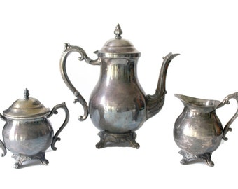 TEA TIME - Silver Plated Tea Set | The Crown Inspired | Vintage Silver Tea Set | FB Rogers Silver Co. #2352 | Silver Teapot | Vintage Teapot