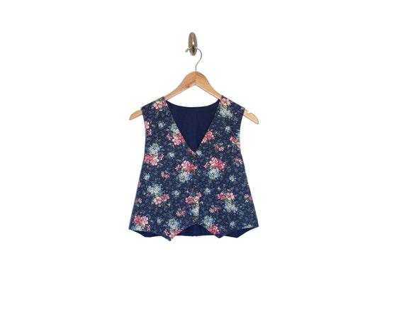 DENIM DAISY - Chambray Floral Vest | Cropped Vest… - image 2