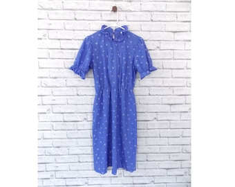 WENDY DARLING - Periwinkle Blue Patterned Dress | Blue Midi Dress | Upper Crust Purple Patterned Dress | Size Small | Lavender Dress