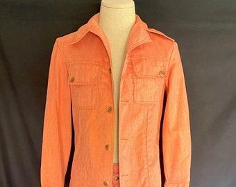 Vintage 1970's orange denim poly cotton blend leisure suit Men's Boys S