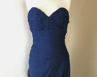 Vintage 1980's Victor Costa for Saks Fifth Avenue navy blue strapless dress S