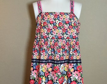 Vintage 1970's 80's floral handmade sundress cotton dress M/L