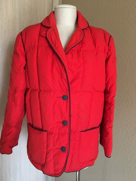Vintage 1980's red designer Bill Blass puffer coat