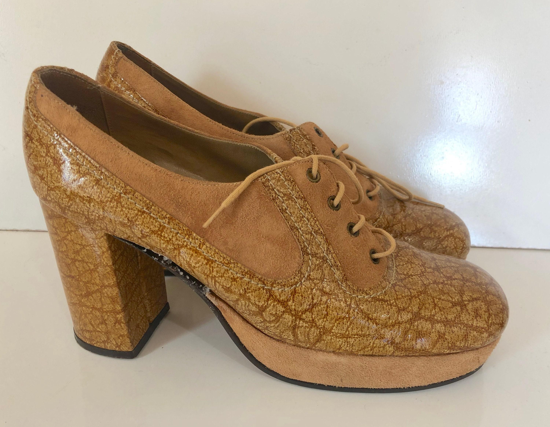 ca06cc0e688f8 Vintage hippie 1970's gold brown leather & suede platform heels ...