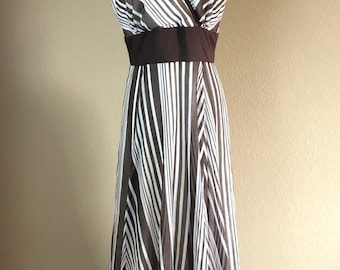 Vintage 1960's COCO California brown & white striped sleeveless maxi dress L