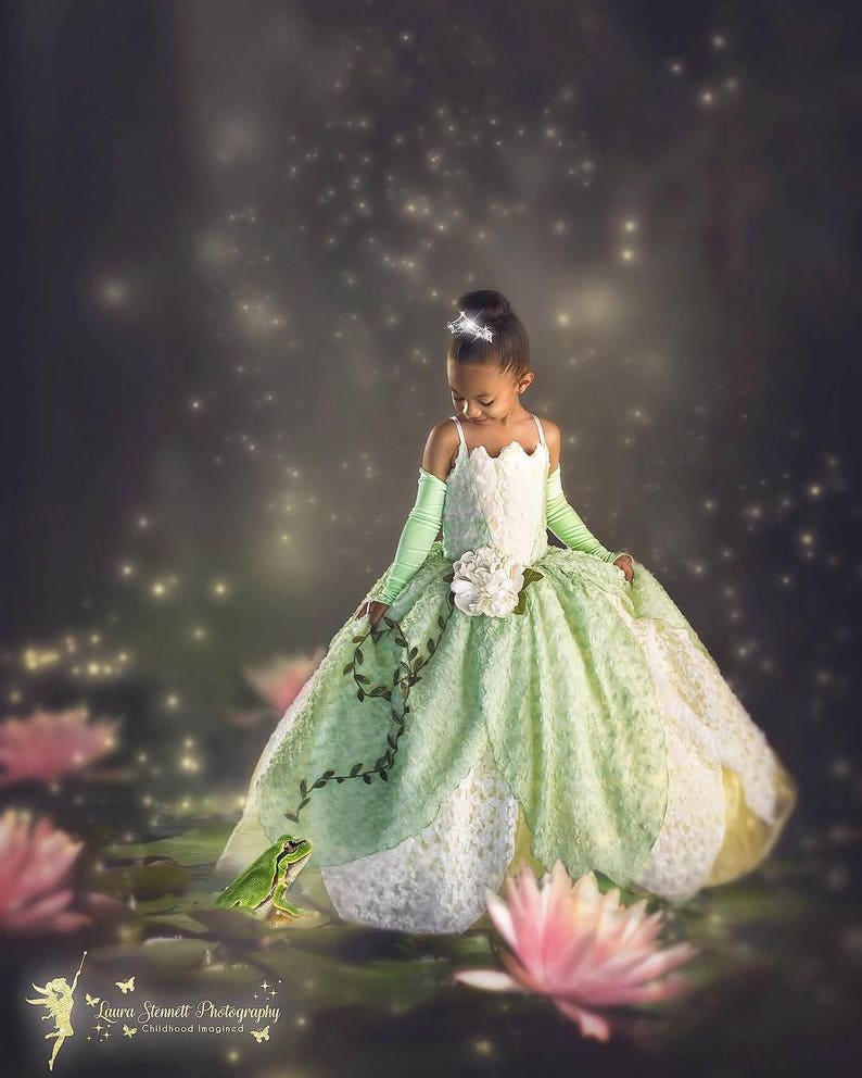 51225087a7 Tiana Costume Princess and The Frog Gown Tutu Dress | Etsy