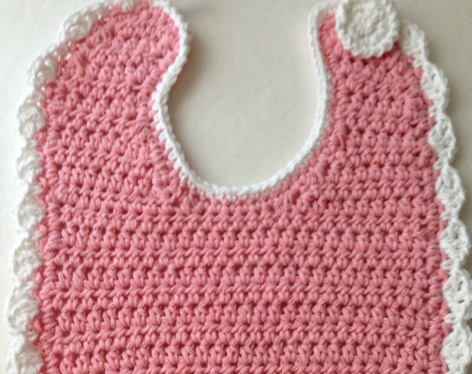 Baby Bib - Crochet Pink Baby Bib - Baby Crochet - Pink and White - 0 to 4 Months - Ready to Ship