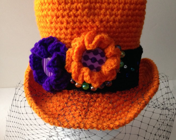 Halloween Top Hat - Mini Adult Top Hat -  Costume Hat - Veiled Top Hat - Womens Fashion Mini Top Hat - Handmade Crochet - Ready to Ship