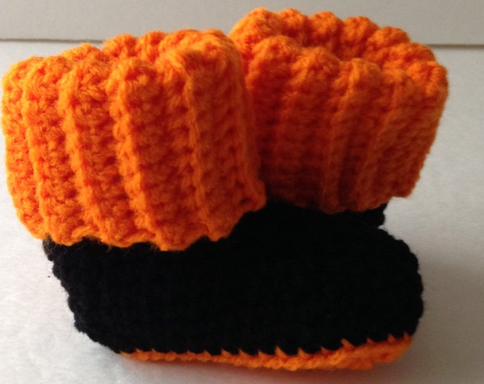 Baby Booties - Halloween Black and Orange - Crochet Handmade - Ready to Ship