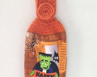 Halloween Towel - Crochet Top - Frankenstein Happy Halloween  - Orange - Hanging Towel - Handmade Crochet - Ready to Ship