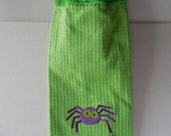 Halloween Hanging Towel - Crochet Top - Spider Halloween Towel - Handmade Crochet - Ready to Ship