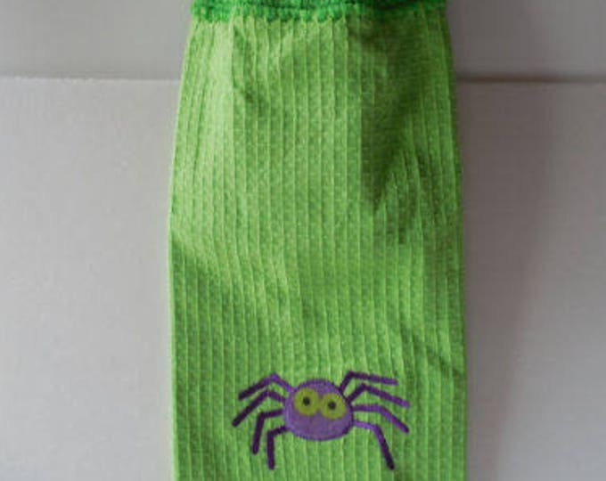Halloween Hanging Towel - Crochet Top - Spider Halloween Towel - Handmade Crochet - Ready to Ship