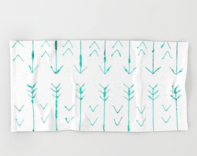 Teal Arrow Hand Towels - Hand Drawn Arrows - Microfiber - Cotton Terry Cloth - Made to Order