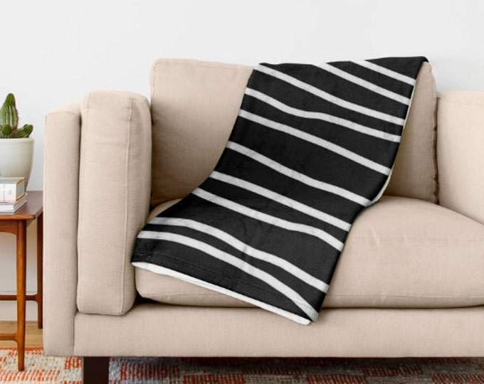 Black and White Soft Fleece Throw Blanket - Striped Bedding - Bedding - Fleece Throw Blanket - Made to Order