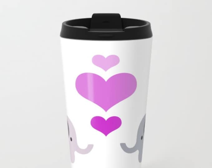 Elephant Travel Mug Metal - Coffee Travel Mug -  Elephant Kisses - Hearts - Hot or Cold - 20oz Mug - Stainless Steel - Made to Order