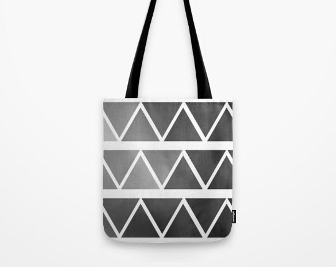 Gray to Black Ombre Tote Bag  - Modern Triangle Art - Beach Bag - Book Bag -  Original Art - Made to Order