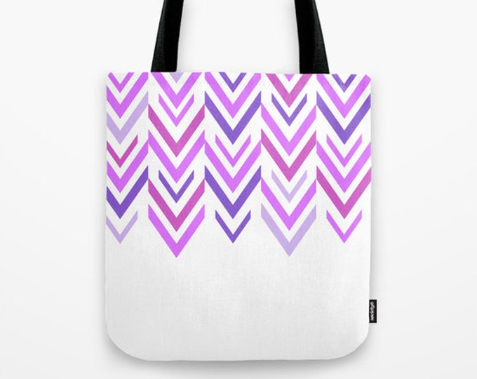 Purple Arrow Tote Bag - Book Bag - Grocery Bag - Beach Bag - ZigZag Purple Tote Bag -  Made to Order