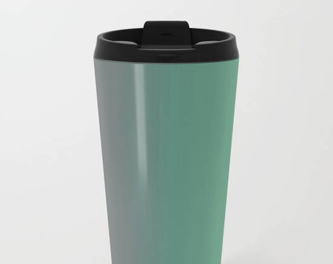 Travel Mug Metal - Green to Gray Ombre - Coffee Travel Mug -  Hot or Cold - 20oz Mug - Stainless Steel - Made to Order