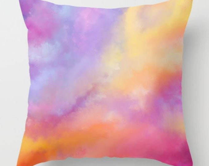 Colorful Pillow Cover Includes Pillow Insert - Pillow Cover - Bright - Sofa Pillow - Bed Pillow - Hand Drawn - Made to Order