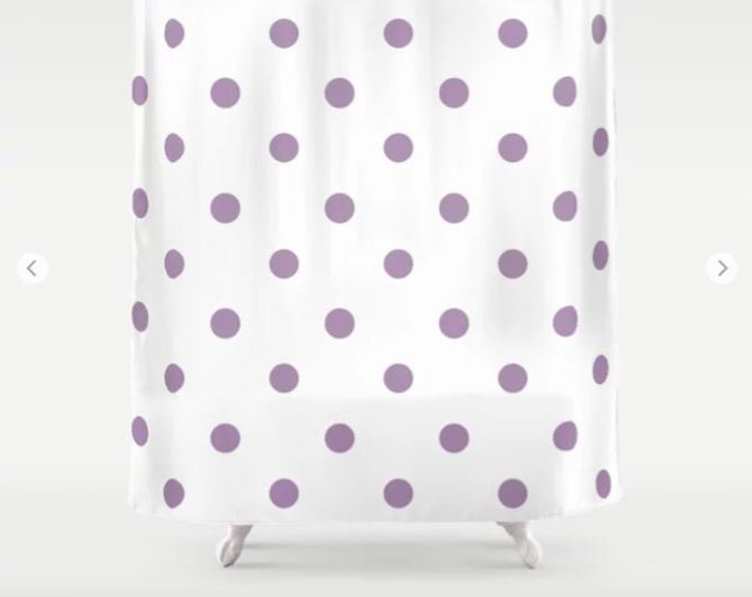 Polka Dot Shower Curtain - White and Purple Shower Curtain - Bathroom Decor - Made to Order