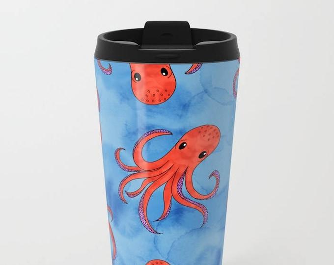 Blue Travel Mug Metal - Coffee Travel Mug - Orange Octopus - Hot or Cold - 20oz Mug - Stainless Steel - Made to Order