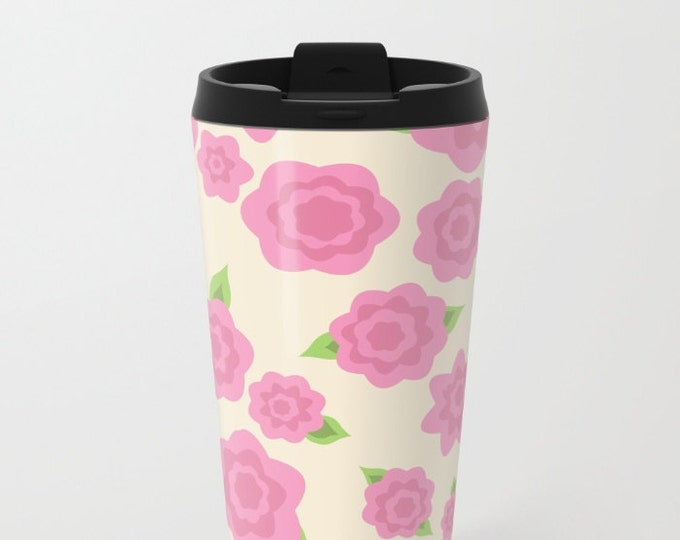 Pink Flower Travel Mug Metal - Coffee Travel Mug -  Hot or Cold - 20oz Mug - Stainless Steel - Made to Order
