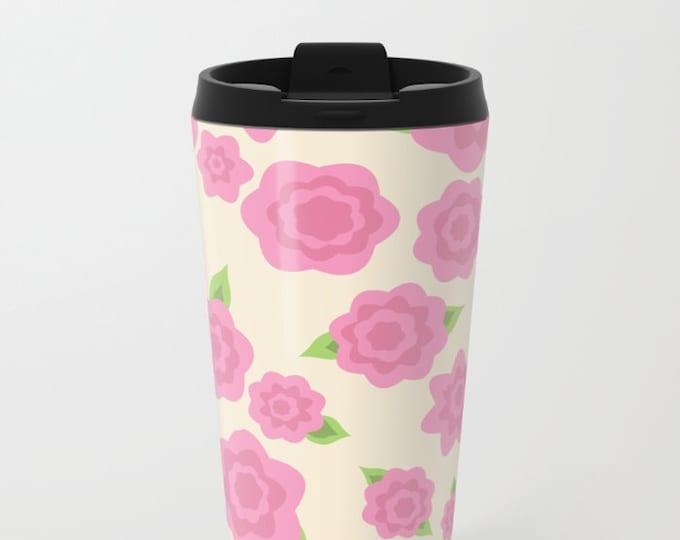 Pink Flower Travel Mug Metal - Coffee Travel Mug -  Hot or Cold - 20oz Mug - Stainless Steel - Made to Order