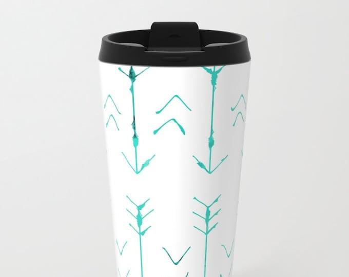 Arrow Travel Mug Metal - Coffee Travel Mug - Teal Arrows -  Hot or Cold Travel Mug - 20oz Travel Mug - Stainless Steel - Made to Order