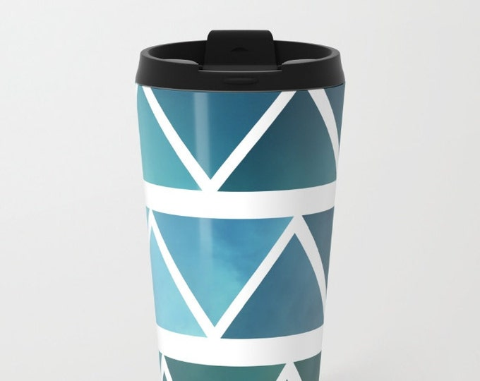 BlueTravel Mug Metal - Coffee Travel Mug - Modern Blue Art -  Hot or Cold Travel Mug - 20oz Mug - Stainless Steel - Made to Order