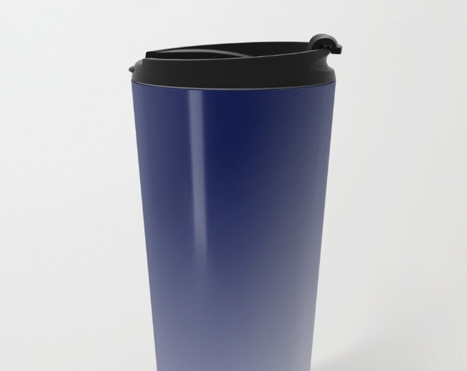 Blue To White Travel Mug Metal - Coffee Travel Mug -  Blue Ombre - Hot or Cold - 20oz Mug - Stainless Steel - Made to Order