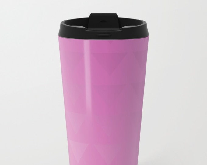 Pink Travel Mug Metal - Ombre Pink with Triangles Coffee Travel Mug -  Hot or Cold - 20oz Mug - Stainless Steel - Made to Order