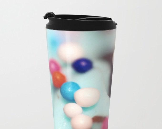Cupcake Sprinkles Travel Mug Metal - Coffee Travel Mug -  Sprinkles Photo - Hot or Cold - 20oz Mug - Stainless Steel - Made to Order