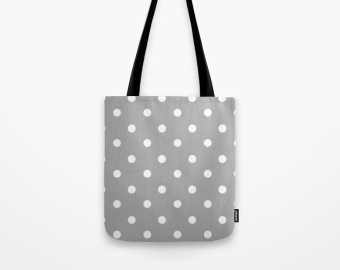 Polka Dot Tote Bag - Book Bag - Grocery Bag - Beach Bag - Gray and White - Made to Order