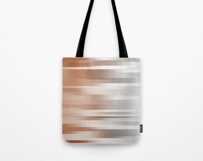 Burnt Orange Tote Bag - Book Bag - Grocery Bag - Beach Bag - Ombre Orange to Silver - Made to Order
