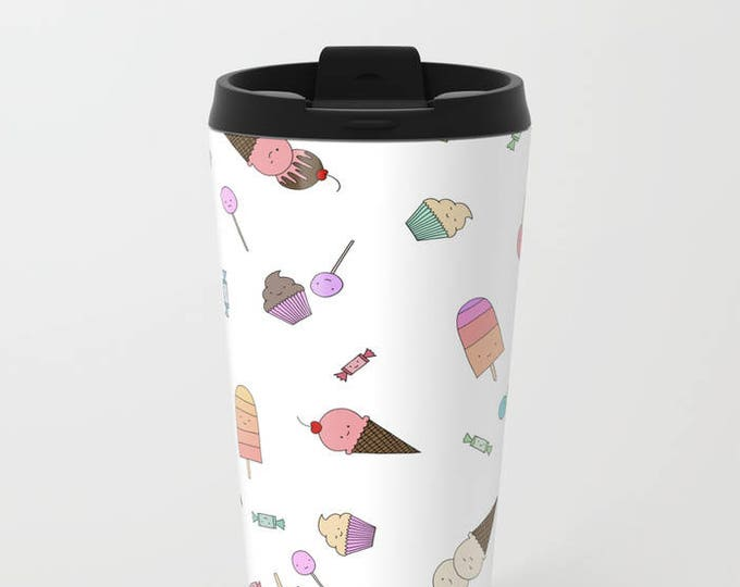 Candy and Ice Cream Travel Mug Metal - Coffee Travel Mug - Hot or Cold Travel Mug - 20oz Mug - Stainless Steel - Made to Order