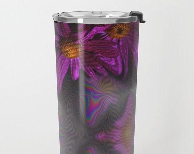 Purple Flower Travel Mug Metal - Coffee Travel Mug - Hot or Cold Travel Mug - 20oz Travel Mug -Made to Order